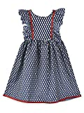 K&U Girl's Printed Frock Short Dress Navy Blue Maroon Frill Sleeved Kurti Cute
