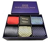 5 Luxury Men's Neckties, 2 Modern Tie Bars, Designer Gift Box, The Must Have Mens Necktie Set (Purple)