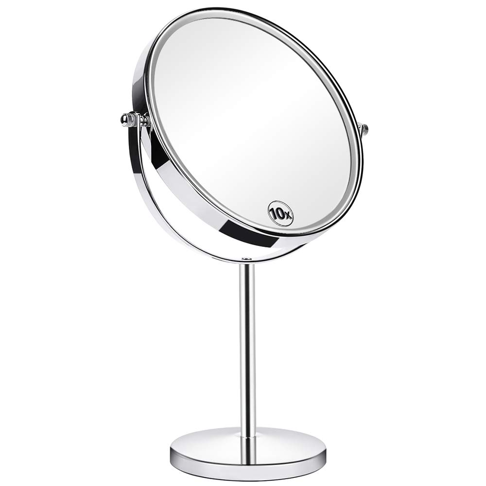 Orange Tech 8-Inch Large Double Sided 1X/10X Makeup Mirror, 360 Degree Swivel Magnifying Vanity Mirror, Travel Mirror with Stand and Removable Base, 15 inch Height