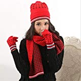 BWAM Red Color Lattice Pattern Winter Lady's Pompom Hat Scarf Gloves Unisex 3 Pieces Winter Warm Clothing Set for Girls Women