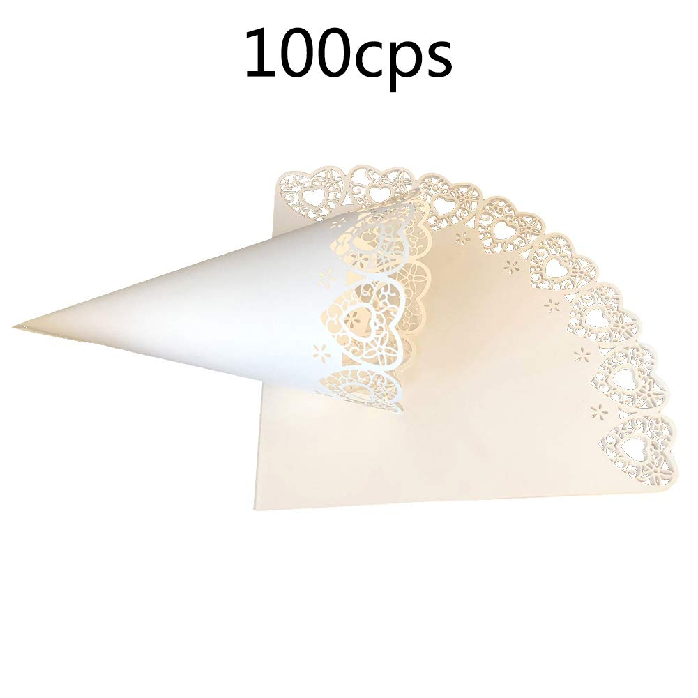 100pcs Wedding Confetti Cones, Beautiful Cut Out Lace Paper Cones Wedding Party Favors