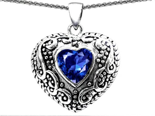 Star K Bali Style Puffed 7mm Heart Created Sapphire Pendant Necklace Sterling Silver Sterling Silver Puffed Star