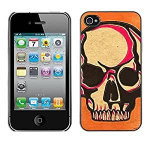 Planetar® ( Skull Pink Orange Death Art Biker ) iPhone 4 / 4S Fundas Cover Cubre Hard Case Cover