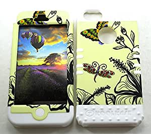 SHOCKPROOF HYBRID CELL PHONE COVER PROTECTOR FACEPLATE HARD CASE AND WHITE SKIN WITH STYLUS PEN. KOOL KASE ROCKER FOR APPLE IPHONE 5 5S FLOWERS BUTTERFLIES WH-TE586