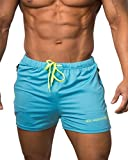 Men's Fitted Shorts Bodybuilding Workout Gym Running Tight Lifting Shorts Pants, Small, Aqua blue