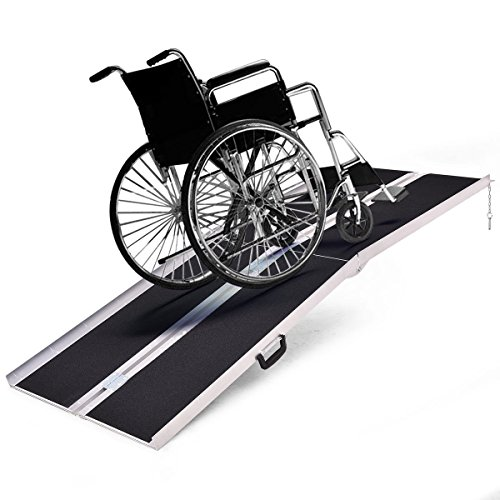 Goplus® Portable Aluminum Non-skid Multifold Wheelchair Ramp Mobility Scooter Carrier