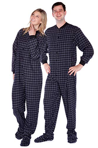 Black & White Plaid Cotton Flannel Onesie Adult Footed Pajamas w/Drop-seat