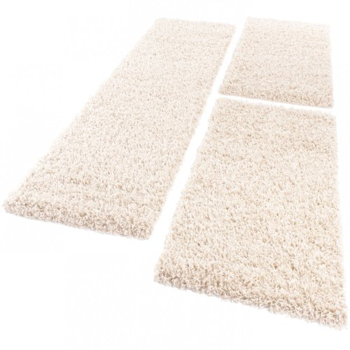 Bettumrandung Läufer Shaggy Hochflor Langflor Teppich in Creme Läuferset 3 Tlg., Grösse:2mal 60x100 1mal 70x250