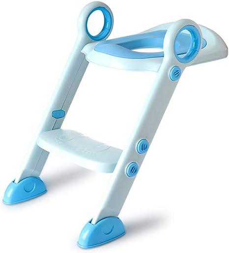Plegable Asiento wc escalera,Asiento wc escalera para niño,Ajustable Fácil montar Asiento de inodoro Para Niños y niñas Almohadillas antideslizantes-Azul: Amazon.es: Bebé