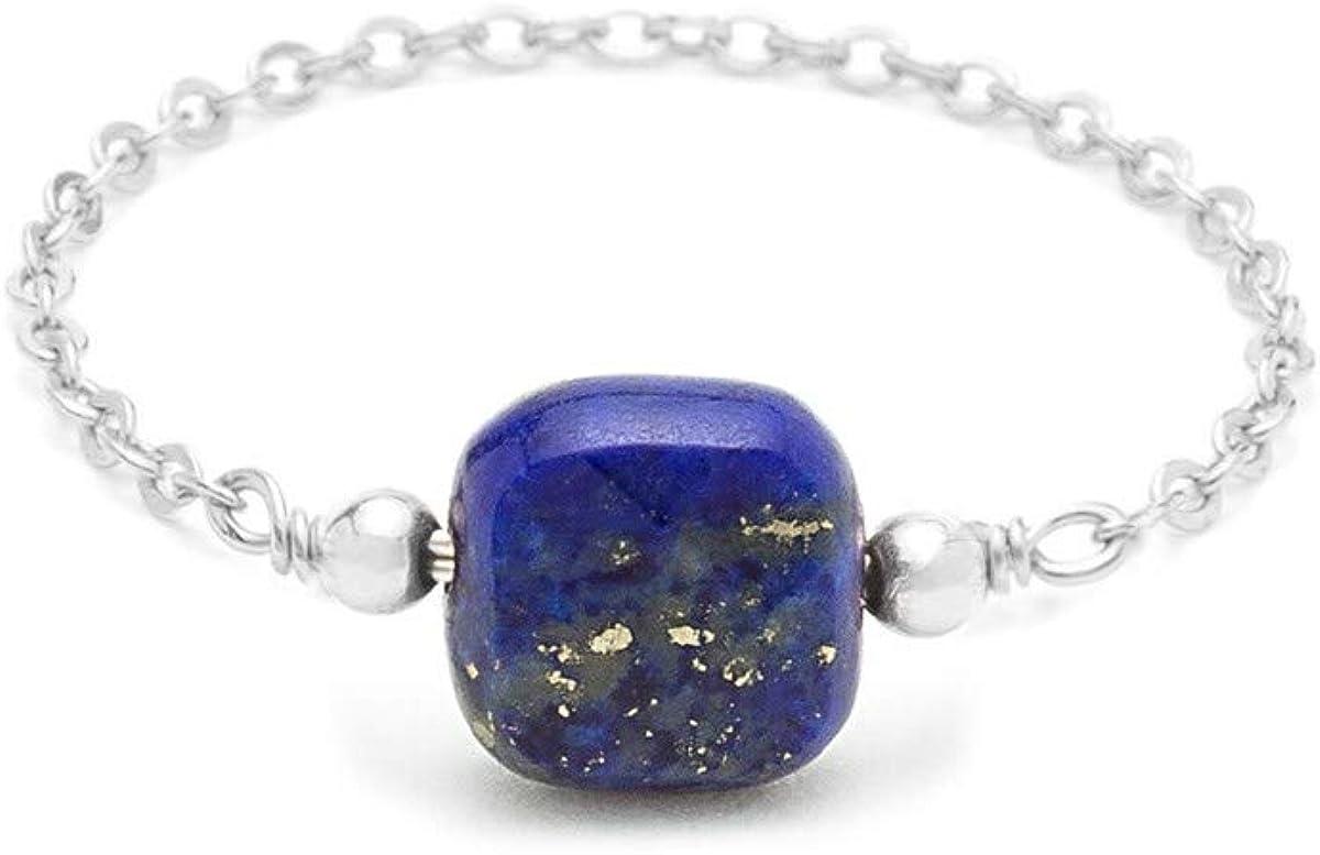 You are Young YAY Bague cha/înette Argent 925 carr/é Lapis Lazuli Riviera