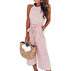 PRETTYGARDEN 2018 Women's Striped Sleeveless Waist Belted Zipper Back Wide Leg Loose Jumpsuit Romper with Pockets (Pink, Small)