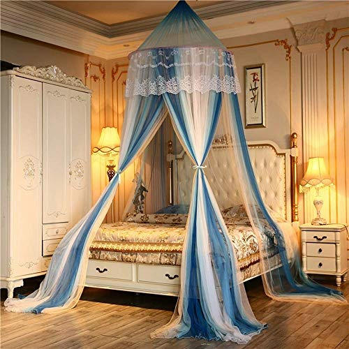 (YXNZ Premium Colorblock Mosquito Net - Dome Large Bed Canopy - Lace Princess Style Bed Curtain Double Bed Castle Tent (Color : Blue, Size : 4 ft)