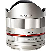 Rokinon RK8MS-FX 8mm F2.8 Series 2 Fisheye Fixed Lens for Fujifilm X-Mount Cameras, Silver