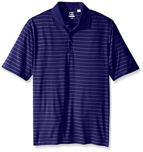 Cutter & Buck Men's Big and Tall Cb Drytec Franklin Stripe Polo, Tour Blue/White, 2X
