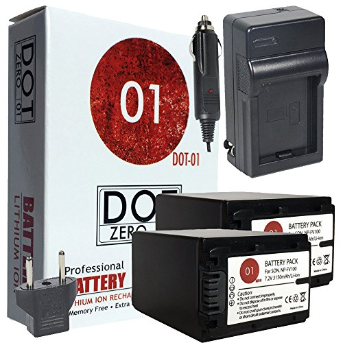 2x DOT-01 Brand Sony FDR-AX33 Batteries and Charger for Sony FDR-AX33 Camera and Sony AX33 Battery and Charger Bundle for Sony FV100 NP-FV100