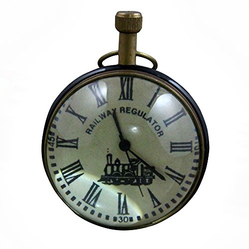 Good Friday Deals!! Antique Retro Vintage Round Metal Table Desk Clock Railway Regulator, 2.7 Inches (Clock Glass Regulator)