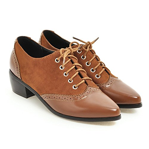 Ladies Oxfords Shoes Pointed Lace AIWEIYi Retro Brown Heel Low Toe Square England Style up dnnSqIPw74