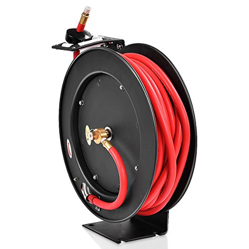 "Goplus Auto Rewind Retractable Air Hose Reel, Hose Compressor, Max.300 PSI (3/8"" x 50' Hose, Black)"