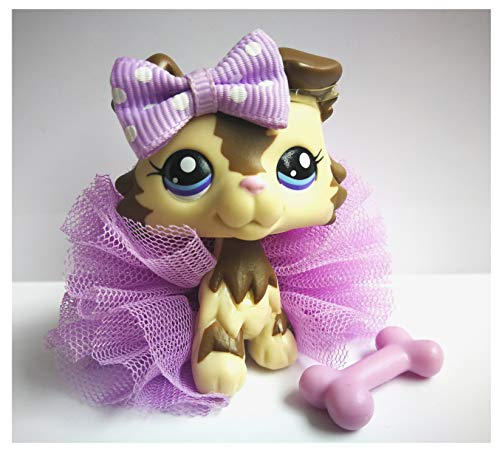 Littlest Pet Shop Costumes (Toy Rare LPS Collie 2210 Stripe Tan Dog Puppy with Accessories Lot Collection Figure Boys Girls Kids Gift (Stripe)