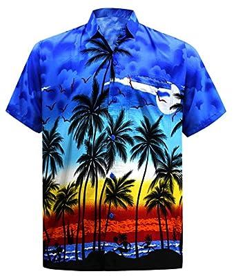 Men's Regular Fit Camp Hawaiian Short Sleeves Button Down Hawaiian Shirt Blue