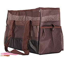 Portable Pet Dog Carrier Bag Airline Approved Dog Travel Carrying Bag Soft-Sided Pet Travel Bag for Cats,Puppies (M, Coffee)