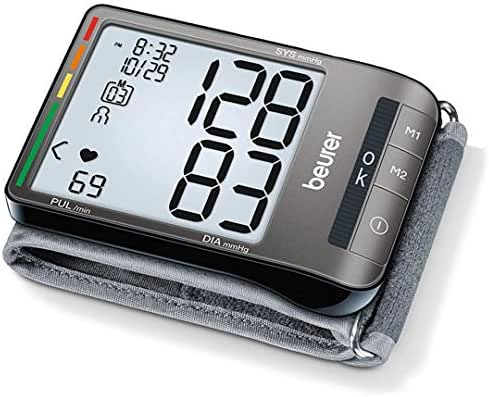 "Beurer BC81 Wrist Blood Pressure Monitor, Adjust. Large Cuff   Automatic & Digital, 2x60 Reading Memory, XL Display, Irreg. Heartbeat, Cuff Circ. 5.3""–9.1"" Home Use BP Machine Kit High BP Detector"
