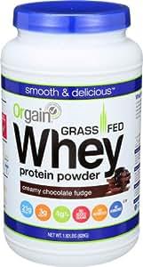 Orgain Grass Fed Whey Protein Powder, Creamy Chocolate Fudge, 1.82 Pound, 1 Count