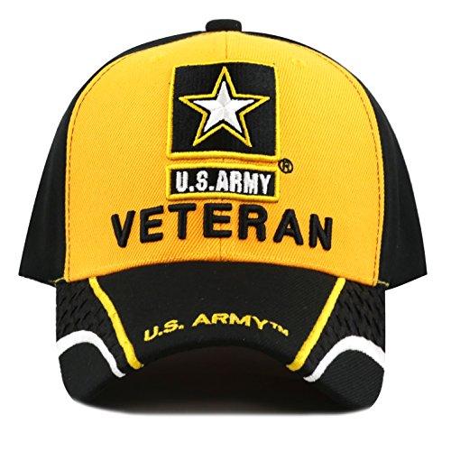 The Hat Depot 1100 Military Licensed U.S. ARMY Logo Veteran Cap (Black Gold)
