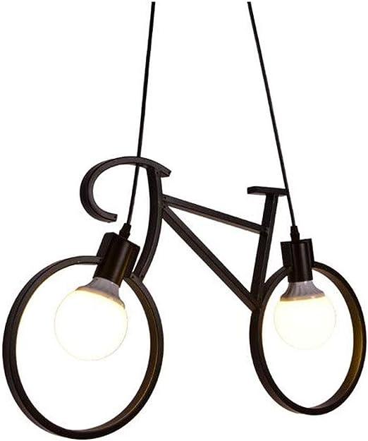 Lámpara bicicleta Arte de hierro, Iluminación colgante Cuarto de ...