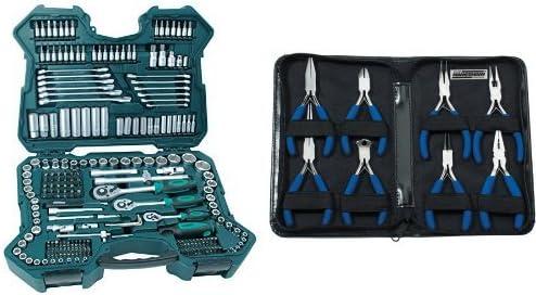Mannesmann M98430 - Maletín con llaves de vaso y otras herramientas (215 piezas, tamaño: 12x36x51 cm) + M10808 - Juego de tenazas electrónicas 8 piezas,: Amazon.es: Bricolaje y herramientas