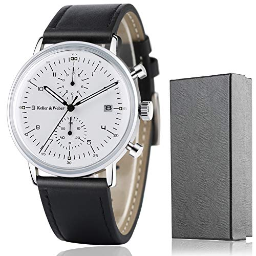 Keller & Weber Quartz Men Watches Sports Chronograph Waterproof Genuine Leather Band Business Wristwatch