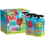 GoGo Big squeeZ Variety Pack (Apple Apple/Apple Raspberry Strawberry Vanilla), 4.2 Ounce (20 Pouches), Bigger Than Existing GoGo squeeZ Fruit Pouches, Made from 100% Fruit & Vanilla, No Sugar Added