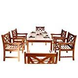 Vifah V98SET13 Malibu 7 Piece Wood Outdoor Dining Set