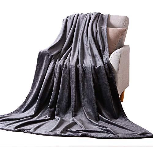 NANPIPER Flannel Fleece Grey Blanket Throw Size Luxury Microfiber Soft Throw 50