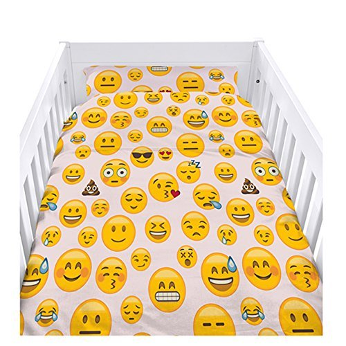 Ready Steady Bed Emoji Girl Design Nursery Cot Duvet Cover Set