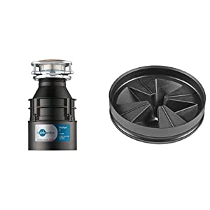 InSinkErator Garbage Disposal, Badger 1, 1/3 HP Continuous Feed & QCB-AM Anti-Microbial Quite Collar Sink Baffle for Evolution Series, Black
