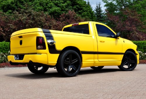 - Dodge Ram 1500 Rumble Bee Concept (2013) Truck Art Poster Print on 10 mil Archival Satin Paper Yellow Rear Side Parked View 36