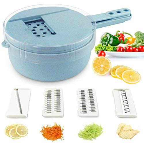 Soogoo Vegetable Slicer, kitchen Mandoline Slicer veggie Cutter Grater Chopper Julienne Slicer with Hand Protector,Food Storage Container Tool for Potato, Tomato, Onion, Cheese, Cucumber