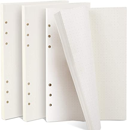 Gepunktetes Papier A5 6 L/öcher Nachf/üllpapier Dot Grid Paper Refill Paper Ersatzbl/ätter f/ür Filofax A5 Notizen DIY Bullet Journal Skizze Malerei 4 Packung Insgesamt 180 Bl/ätter