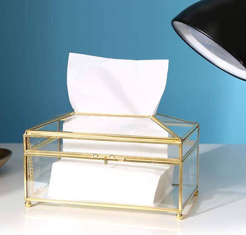 9,1 x 4,7 x 4,3 Z klar MEHRWEG VERPAKUNG Fdit Rechteckige Papier Tissue Box Halter Klarglas oder Spiegel dekorative Kosmetikt/ücher Cube Boxen Serviette Speicherorganisator