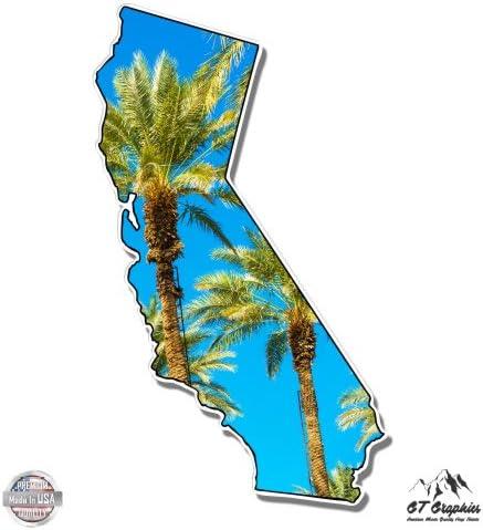 Vinyl Sticker Waterproof Decal California Cali Shape Palm Trees