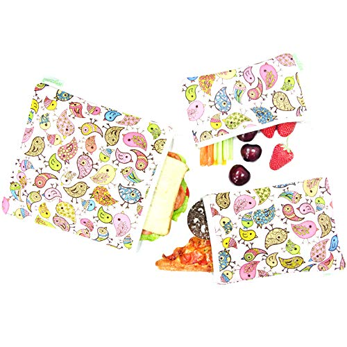 Wegreeco Reusable Sandwich & Snack Bags - Set of 3 - (Lovely Bird)