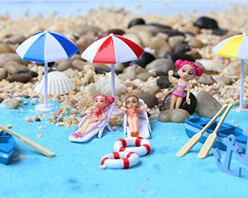 KATERT 22 Pcs Beach Style Miniature Ornament Kits Set for DIY Fairy Garden Dollhouse Decoration, Blue Sand/Cute Girls/Beach Chair/Boat/Oars/Beach Umbrellas/Swimming RingLift Buoy/Starfish (Garden Fairy Items Beach)