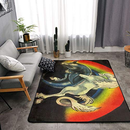 YOUNG H0ME Area Rug, Doormat Floor Mat Standing Mat, Children Play Rug Carpet Tub Shower Bath Rug, Rainbow Unicorn Pounding Dolphin Throw Rugs Carpet Exercise Mat, Indoor Outdoor Entryway Rug (Palm Bowling Desert)