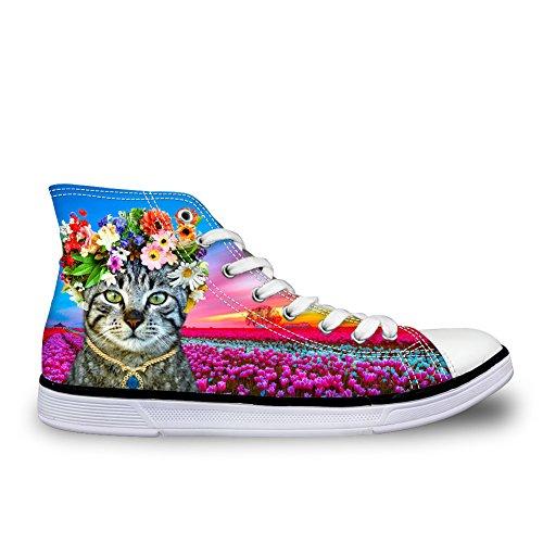 För U Designar Kawaii Kattunge Katt Kvinnor Tygskor Hög Topp Platt Sneaker Katt 2