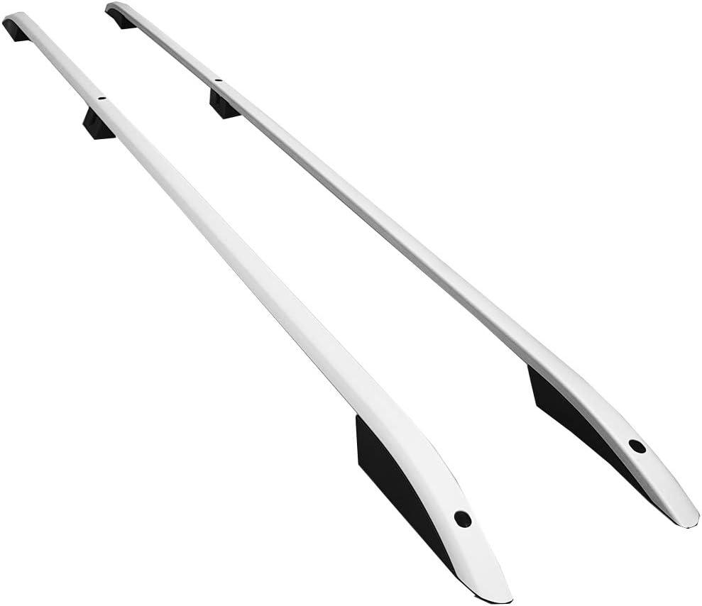 RE&AR Tuning Barras de Techo Aluminio rieles Portaequipajes Barras Superiores Rail laterales juego para VW Transporter T5 2003-2015 L2/H1 Gris