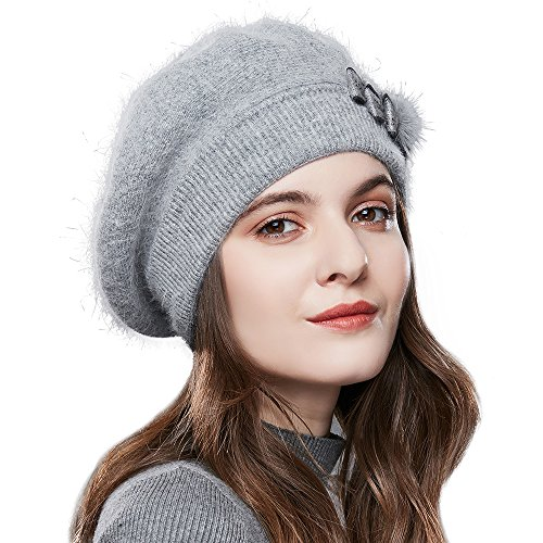SOMALER Winter Women French Beret 100% Angora Wool Beret Beanie (Gray)