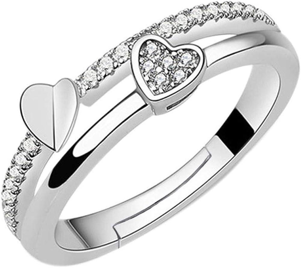 Yazilind Bague Femme Plaqu/é Argent Diamant Zirconium Reglable Fine Delicat Ajustable Originale Faitaisie Anneau Bijoux Mariage Fiancaille Saint Valentin Pas Cher