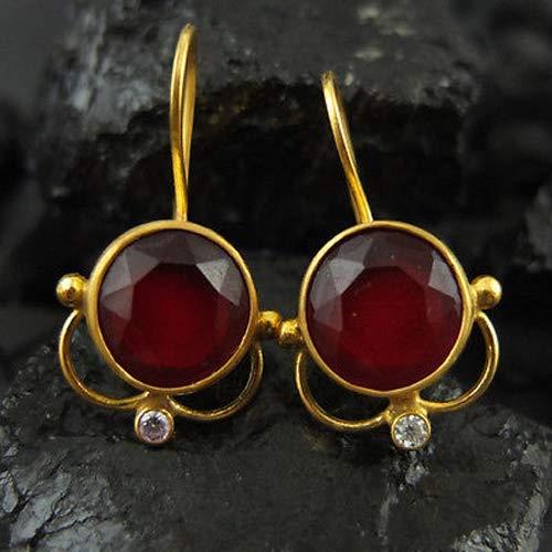 Ancient Design Jewelry Handmade Designer Ruby Dang Earring 22K Gold Over 925K Sterling Silver ()