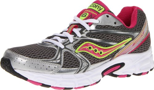 Saucony Women's Cohesion 6 Running Shoe,Grey/Pink/Citron,5.5 M US